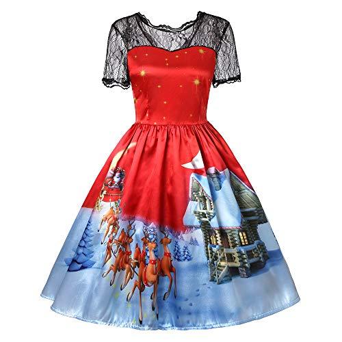 Preisvergleich Produktbild TWBB Damen Weihnachtsmann Drucken Kostüm Swing-Kleid Winter Abschlussball Cocktailkleid Abendkleid Partykleid,  Empire Schärpen Knielang Ballkleid