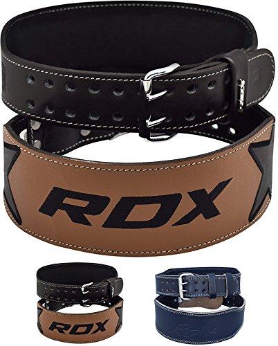 "RDX 4"" Gewichthebergürtel Rindsleder Fitness Gym Trainingsgürtel Bodybuilding Krafttraining (MEHRWEG)"
