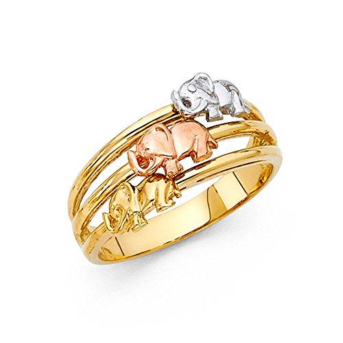 Paradise Jewelers sólido amarillo de las mujeres de oro tricolor de 3...