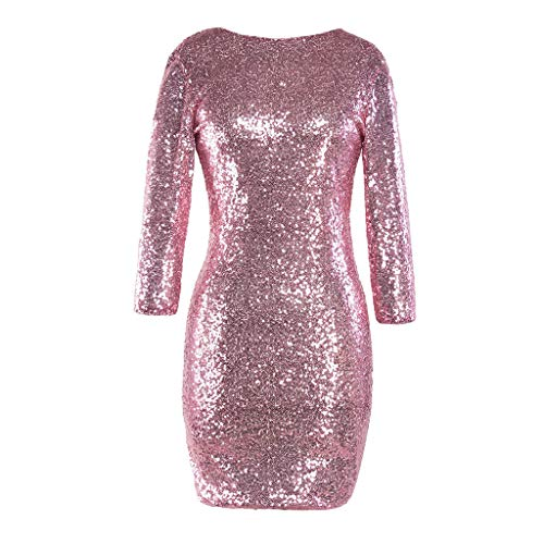 (Luckycat Frauen Sparkle Glitzy Glam Sequin Langarm Flapper Partei Verein Kleider Abendkleider Schwingenkleid Partykleider Cocktailkleid Blusenkleid)