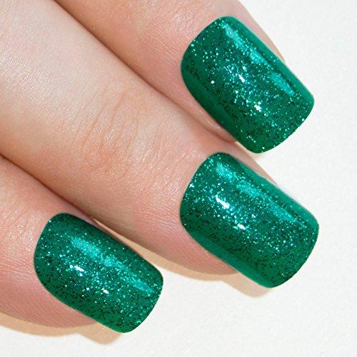 Bling art Gel faux ongles manucure française 24 vert Aqua Glitter Moyen Conseils UK