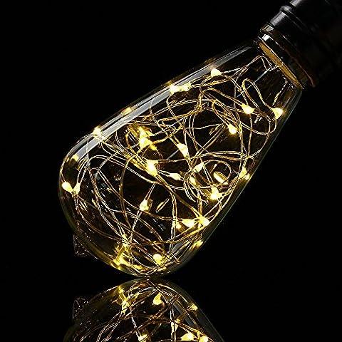 Lampe décorative ampoules, Xinrong Fil de cuivre de ciel étoilé ampoules E272W d'économie d'énergie rétro Vieux Mode Edison Ampoule d'éclairage d'intérieur Home Décoration de pendentif, doux et chaud Blanc Glow, ST64, E27 2.0 wattsW 240.0 voltsV