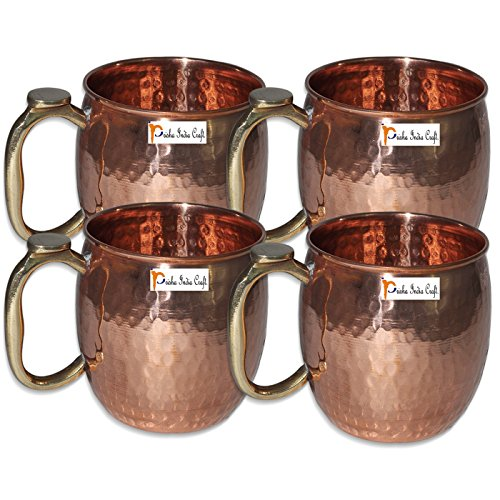 Set di 4 - Prisha India Craft ® tazza di rame per Mosca muli 550 ML / 18 oz in puro rame mulo Mug Cup, Moscow Mule Cocktail Cup, rame tazze, tazze da cocktail - Frosted Tazze Di Plastica