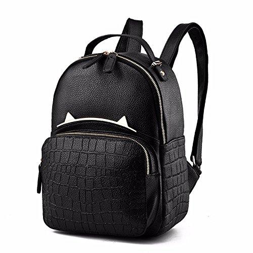 studenten - tasche, neuen stil studenten wind, frauen - leder - rucksack,trompete schwarz große schwarze