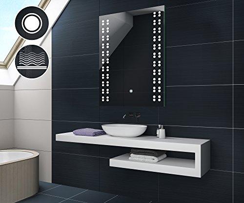 50 cm x 70 cm | Espejo de baño moderno e iluminado,...