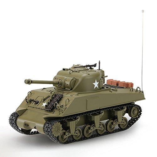 Goolsky HENG LUNGO 3841-01 1/30 27 MHz US carro armato medio M4A3 SHERMAN battaglia RC Tank con luci e suoni