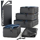 WUNDERPACK Packtaschen 4er-Set - top verarbeitete Packing Cubes in schwarz-blau   4 Packwürfel für mehr Übersicht und Platz inkl. Kleidertasche ideal für Rucksack-Trips, Geschäftsreisen und Urlaube
