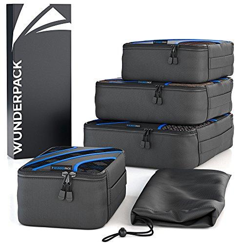 WUNDERPACK Packtaschen 4er-Set - top verarbeitete Packing Cubes in schwarz-blau | 4 Packwürfel für mehr Übersicht und Platz inkl. Kleidertasche ideal für Rucksack-Trips, Geschäftsreisen und Urlaube