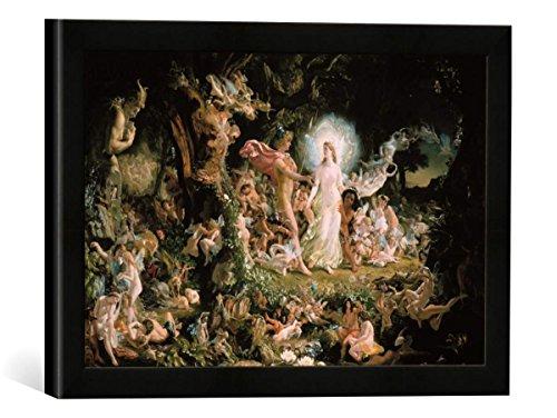 Gerahmtes Bild von Sir Joseph Noel Paton Der Streit zwischen Oberon und Titania, Kunstdruck im hochwertigen handgefertigten Bilder-Rahmen, 40x30 cm, Schwarz matt