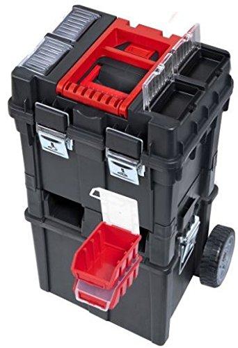 Werkzeugkoffer Werkzeugwagen Rollwagen Wheelbox HD Compact schwarz / rot Trolley Rollen - 8