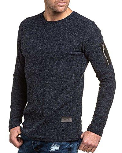 Celebry tees - Pullover navy maille homme poche zippée fashion Bleu