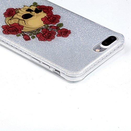 iPhone 8 Plus Coque, Voguecase TPU avec Absorption de Choc, Etui Silicone Souple Transparent, Légère / Ajustement Parfait Coque Shell Housse Cover pour Apple iPhone 8 Plus 5.5 (Fleurs de prunier 14)+  Crâne avec des fleurs 06