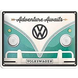 VW Bulli Adventure Awaits, Cartel de Chapa 15x 20cm