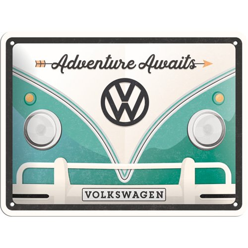 Nostalgic-Art 26222, VW Bulli Adventure Awaits, Cartel de Chapa 15x 20cm