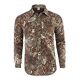 Aiserkly Herren Camouflage Langarm T-Shirt Sweaterjacke Tops Herbst Hemd Outwear Schnelltrocknend Grün XL
