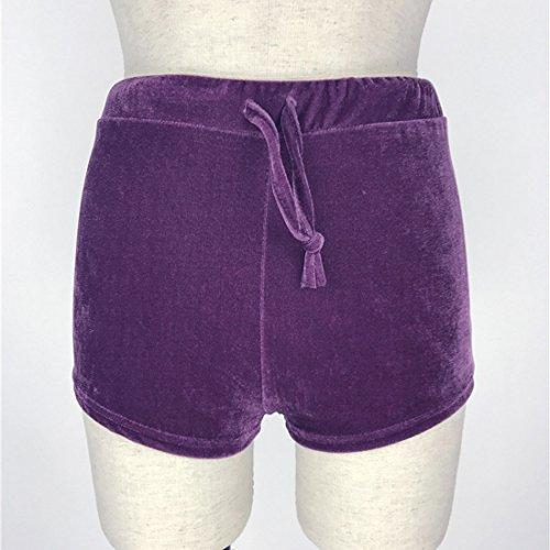 QIYUN.Z Chaussures Élastiques En Velours Velours Pour Femme Portent Des Pantalons Chauds À Cordon Haute Taille Violet
