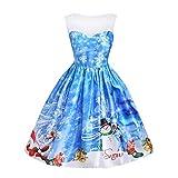 SEWORLD Vintage Christmas Plaid Weihnachtsmann Damen Ärmellos Sheer Gedruckt Spitze Hohe Taille Kleid Weihnachten Kleid Knielänge Kleid(X2-a-blau,EU-36/L)