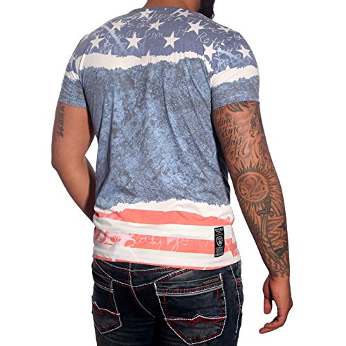 Herren T-Shirt Kurzarm Aufdruck V-Neck T-Shirt Sommer Slim Fit Top Shirt RN-6841 Blau