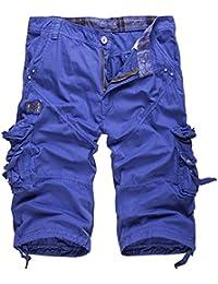 WSLCN Homme Vintage Cargo Shorts 100% Coton Pantacourt Outdoor Bermudas Shorts de Loisir Travail Uni Multi-Poches (sans Ceinture)