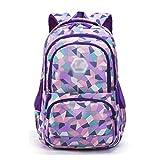 XHHWZB Wasserdichte Schulrucksack für Mädchen Middle School Cute Bookbag Daypack für Frauen Rhombus (Farbe : Purple, größe : Groß)