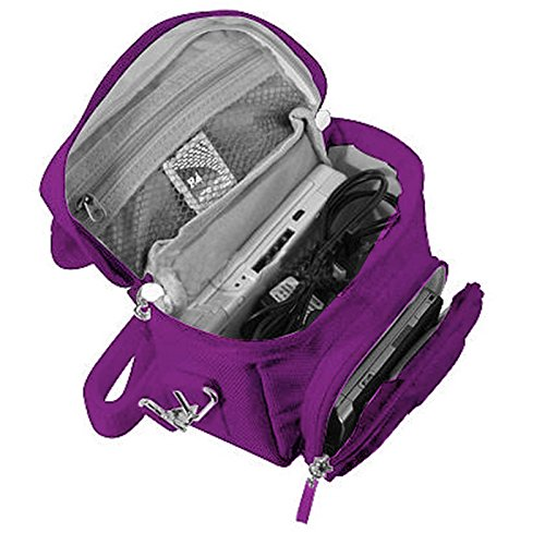 Orzly Travel Bag für alle Nintendo DS Konsole Modell Versionen mit Faltbarer Bildschirm (Original DS / 3DS / DS Lite / 3DS XL / DSi / New 3DS / New 3DS XL / 2DS XL / etc.) - Tasche enthält: Schultergurt + Tragegriff + Gürtelschlaufe + Fächer für Zubehör (Spiele / Stifte / Lade Kabel / Amiibo / etc.) - LILA