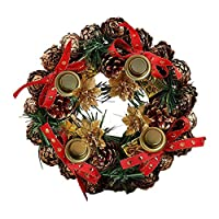 Generp Christmas Advent Wreath, Artificial Handmade Garland Gold Front Door Hanging Decorative Supplies for Christmas Party Shopping Mall Window