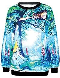 Ninimour Modisch Damen 3D cartoon Hemd Kapuzenpullover Digital Eindruck Street Wear