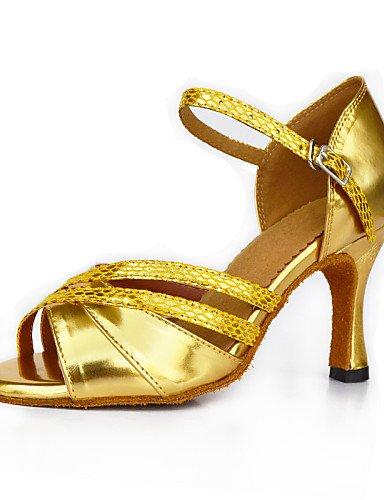 La mode moderne Sandales Chaussures de danse pour femmes personnalisables Satin Satin Flared Heel Sandals Latin débutant pratique intérieur extérieur professionnel Or Performance US8.5/EU39/UK6.5/CN40