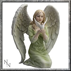 51 XVhrIlcL. SS300  - Angel of Peace Holding Dove Figurine Statue Ornament