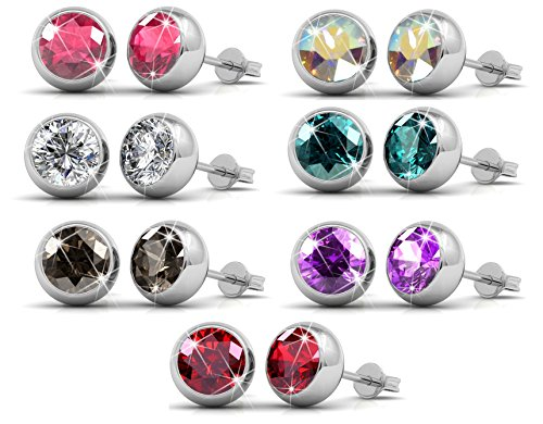 Luxus-Swarovski Kristall Ohrstecker-Set mit 7 Paaren, 18K Weißgold überzogene Ohrringe mit Kristall aus SWAROVSKI - In Geschenkbox (rundes Modell) (Swarovski-kristall-ohrringe Ohrstecker)