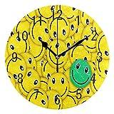 Domoko Home Decor Gelb Emoji-Emotion Face Acryl, Rund Wanduhr Geräuschlos Silent Uhr Kunst Wohnzimmer Küche Schlafzimmer