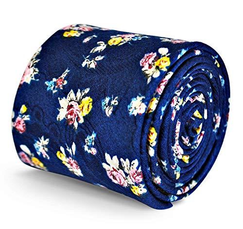 Frederick Thomas Homme Haute Qualité Modèle Cravate Fait à la Main Motif Fleur Mariage Style - Bleu marine, One Size