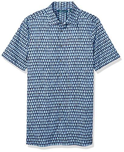 Perry Ellis Herren Big and Tall Textured Print Shirt Hemd, Saphir, dunkel, 5XL (Hoch) (Tall-herren-t-shirts Kleid Big-und)