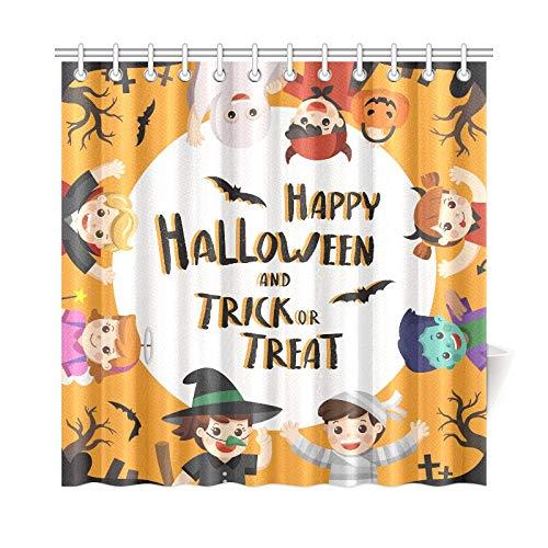 (JOCHUAN Wohnkultur Bad Vorhang Kinder Gekleidet Halloween Kostüm Go Polyester Stoff Wasserdicht Duschvorhang Für Badezimmer, 72 X 72 Zoll Duschvorhänge Haken Enthalten)
