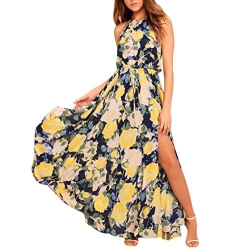 JYC Vestidos Elegantes Encaje,Vestido Satén Essence,Cintura Alta Años Hippies Vestido Coctel, Mujer Sexy Floral Impreso Ajustable Sin Mangas con Cordones División Maxi Largo Vestir (L, Amarillo)