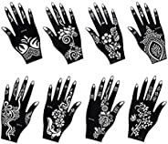 Henna Tattoo Stencil/Temporary Tattoo Temples Set of 8 Sheets,Indian Arabian Tattoo Reusable Stickers Stencils