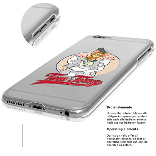 finoo | iPhone 7 Plus Hard Case Handy-Hülle Tom & Jerry Motiv | dünne stoßfeste Schutz-Cover Tasche mit lizensiertem Muster | Premium Case für Dein Smartphone| Jerry Happy Tom & Jerry Baseball