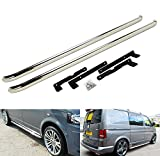 VW Transporter T5 T6 SWB 2003+ Polished Chrome Sportline Style Side Step Rail Guard Bar Running Board Caravelle