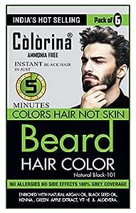 Colorina Men's Beard Color, Natural Black 101 (10ml X 6 Sachet)   Ammonia Free    Colors Hair not Skin   Instant Beard Color in Just 5 Minutes