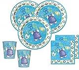 32 Teile Baby Shower Deko Set Wäscheleine Blau für 8 Personen