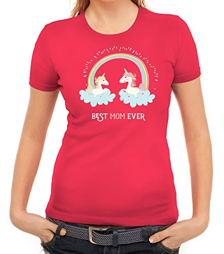 Einhorn Muttertag Damen T-Shirt mit Unicorn Best Mom Ever von ShirtStreet Pink