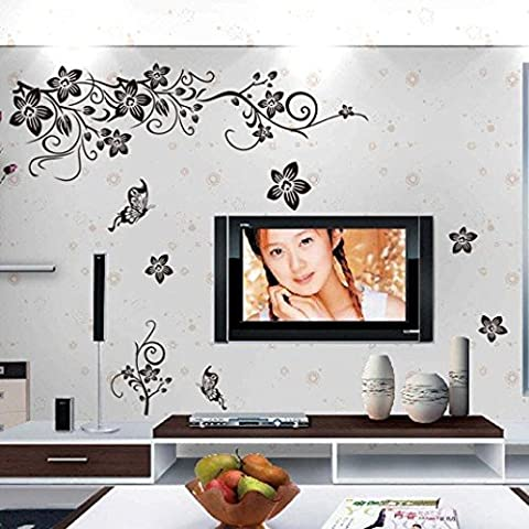 Kingko® Black Butterfly Diagonal Vine Flowers Removable Wall Stickers Charms Vinyl Wall Decals