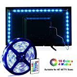 Tiras LED, MILIER Retroiluminación LED TV USB Luces de tira LED 6.56ft para 40-60in TV 16 Color 5050 Leds Bias Lighting (IR)