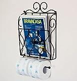 DanDiBo Porte-journal et papier de toilette Noir Porte-rouleaux de toilette Porte-journaux Etagère murale