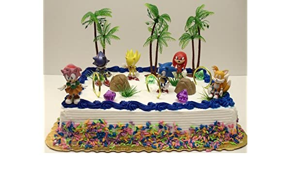 Buy Unique 12 Piece Classic Sonic The Hedgehog Cake Topper Set Featuring 4 Sonic Rings Super Sonic Amy Rose Miles Tails Prower Sonic Metal Sonic Knuckles And 2 Decorative Cake Pieces Online