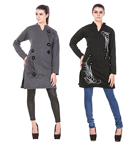 Komal Trading Collection Casual Solid women darkgrey/black & multicolor Stylish 17 inches...