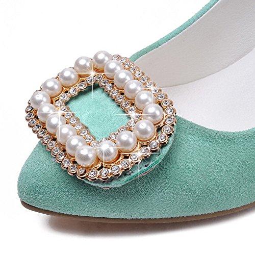 AgooLar Femme Pointu Tire Suédé Mosaïque à Talon Haut Chaussures Légeres Cyan