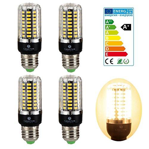 4×GreenSun 7W E27 LED Energiespar Mais Birnen SMD 5736 Hochleistungs Lampen Warmes Weiß Wechselstrom 45W Glühlampe Equivalent