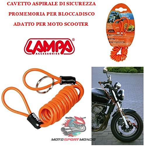 CAVETTO BLOCCADISCO PER MANOPOLA MOTO REMINDER LAMPA 90616 Ø 4 MM, LUNGHEZZA 150 CM COLORE ARANCIO