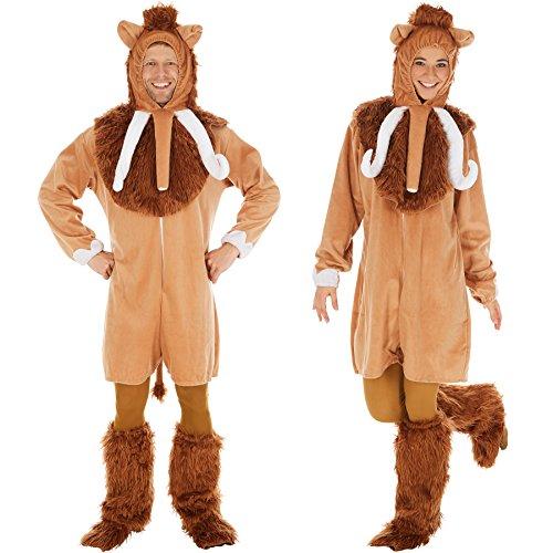 Dressforfun costume da mammut per lui e per lei | con mantellina extra e cappuccio | incl. gambali e catsuit (xl | no. 300889)